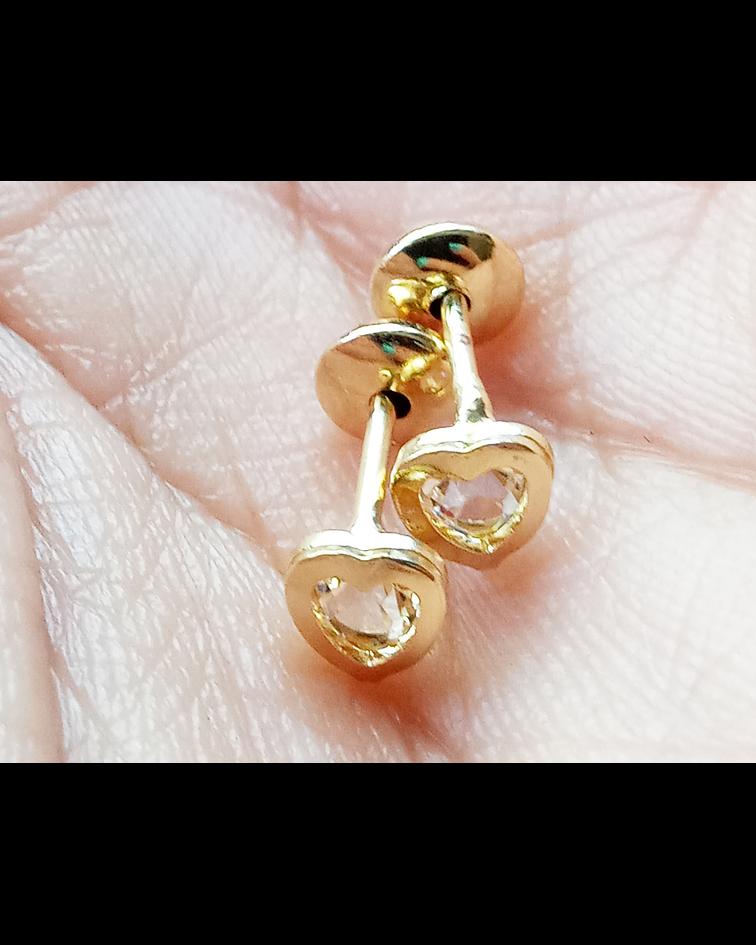 Aros Bebé Corazón Circón Enchapado Oro 18 K