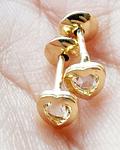 Aros Abridores Corazón Circón Enchapado Oro 18 K