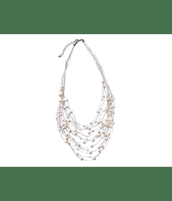 Collar Perlas De Río Y Cristales Hilo De Seda