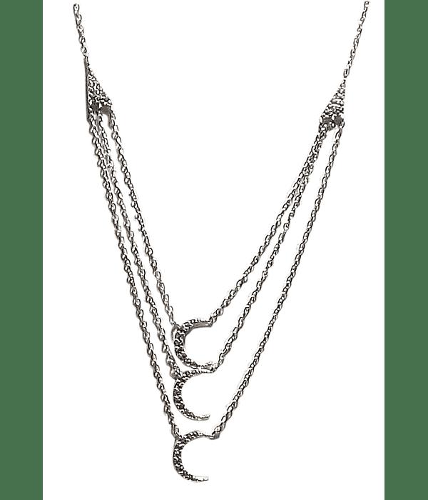 Collar Triple Luna Circón Plata Fina 925