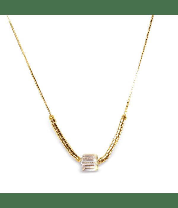 Collar Cubo Cristal Enchapado Oro 18 K