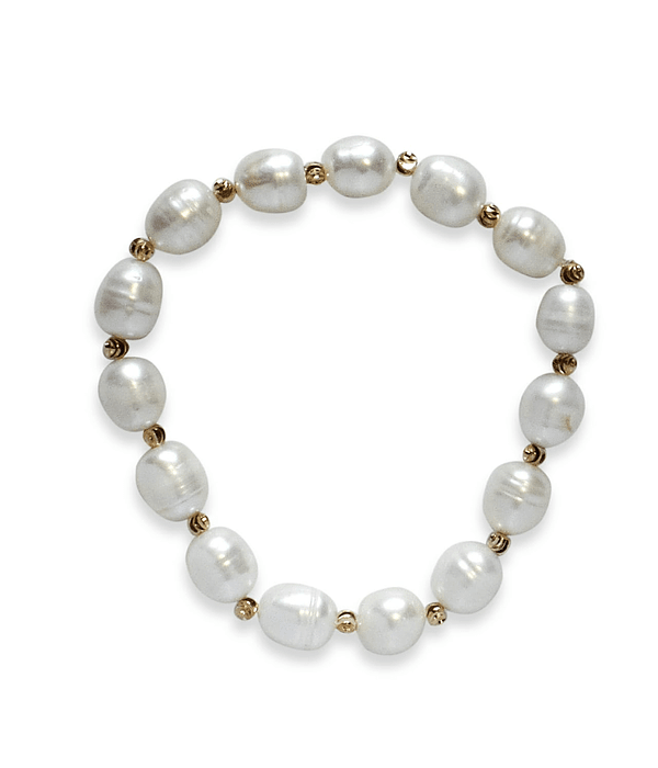 Pulsera Perlas De Río Blancas Elasticada
