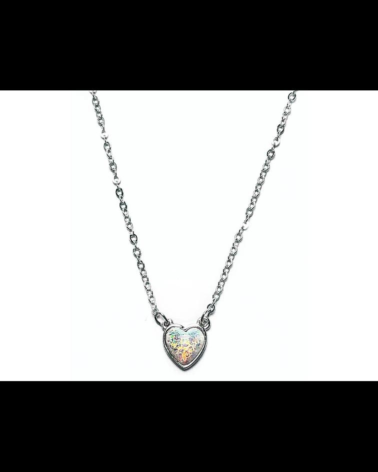 Collar Corazón Ópalo Plata Fina 925