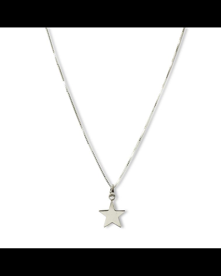 Collar Estrella Plana Plata Fina 925