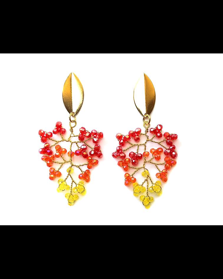Aros Mostacilla Cristal Rojo Amarillo Enchapado Oro 18 K