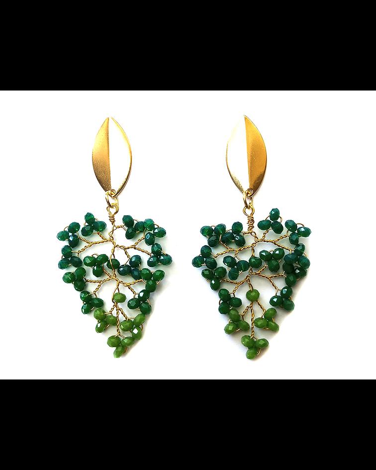 Aros Mostacilla Cristal Verde Enchapado Oro 18 K