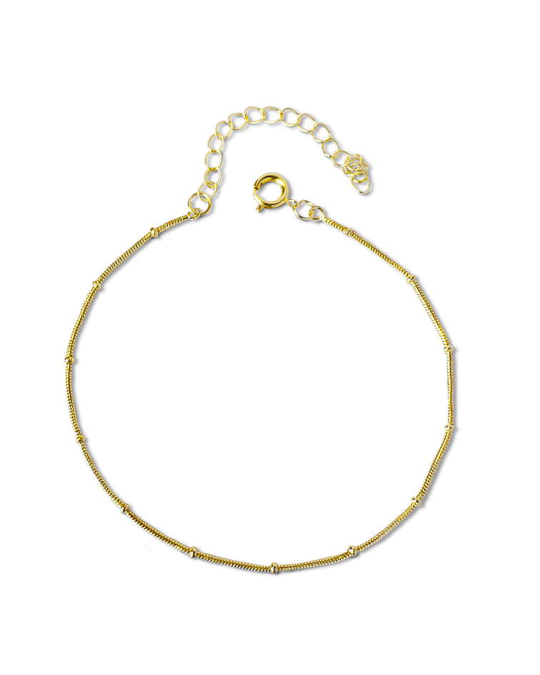 Pulsera Cordón Mini Beads Enchapado Oro 18 K
