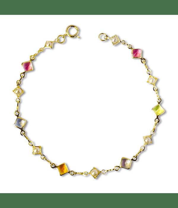 Pulsera Cristales Colores Enchapada Oro 18 K