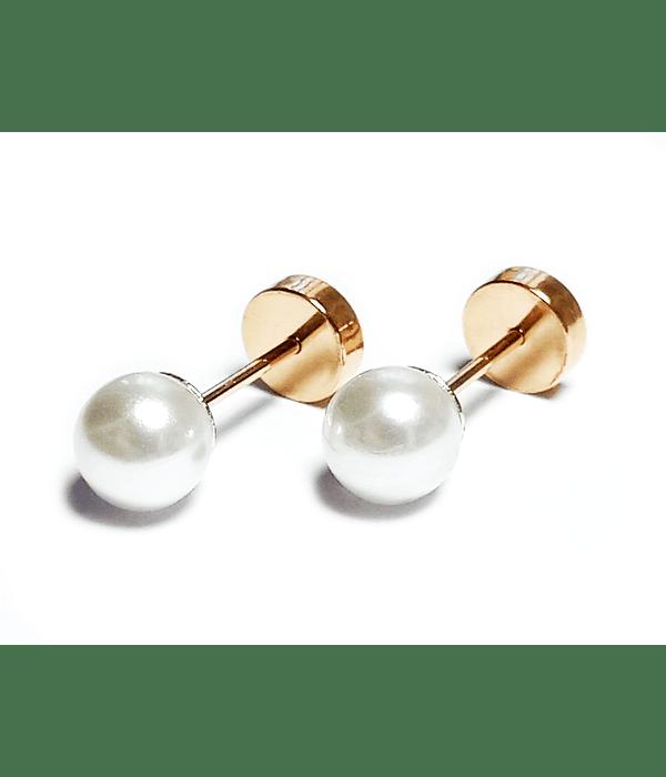 Aros Abridores Bebé Perla Sintética 5mm Laminado Oro 18 K