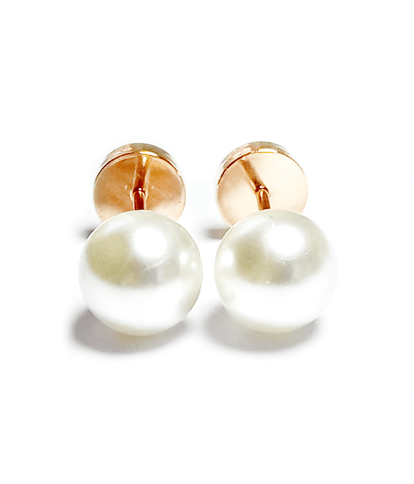 Aros Abridores Perla 6mm Laminado Oro 18 K