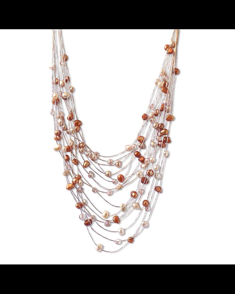 Collar Perlas De Río Mixtas Cristales Hilo De Seda