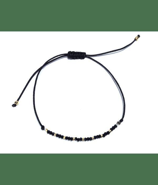 Pulsera Cristales Negros Mostacilla Enchapado Oro 18 K
