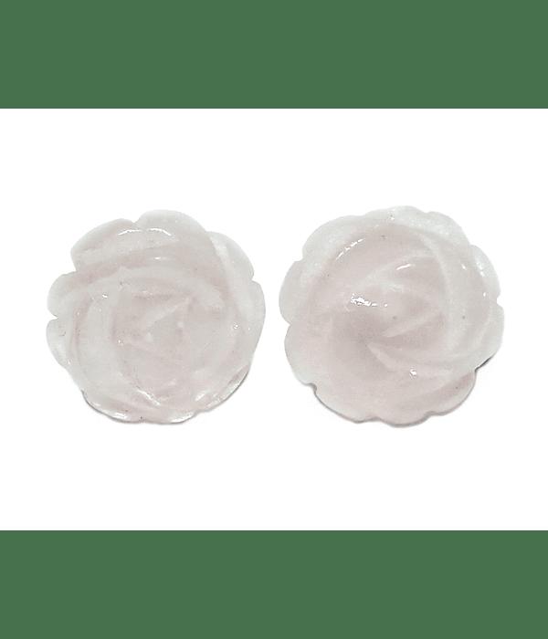 Aros Cuarzo Rosa 12mm Plata Fina 925