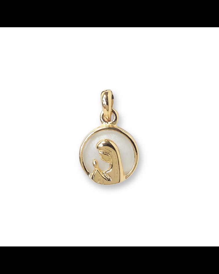 Colgante Medalla Virgen Niña Nácar Enchapado Oro 18 K