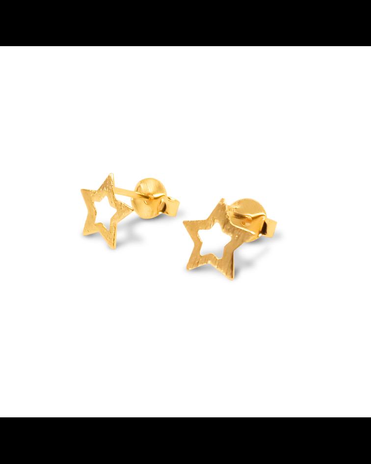 Aros Estrella Calada 8mm Enchapado Oro 18 K