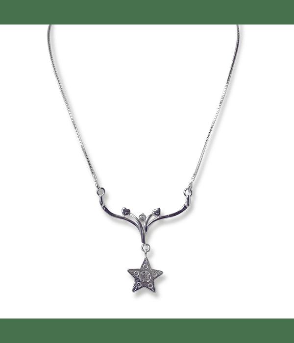 Collar Estrella Colgante Circón Plata Fina 925
