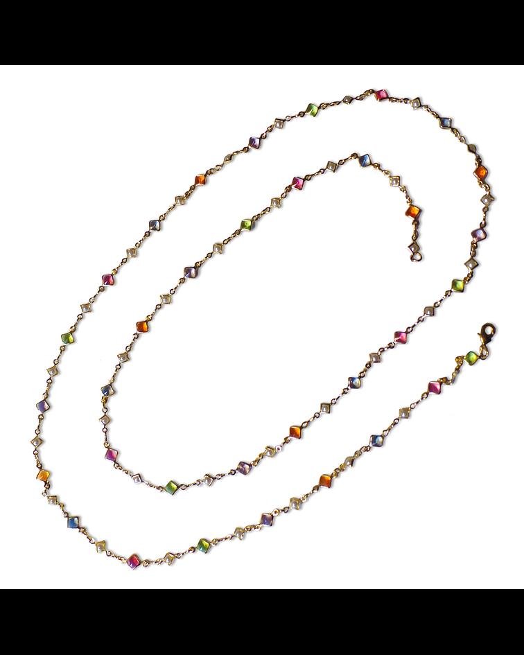 Collar Cristales Perlitas Enchapado Oro 18 K