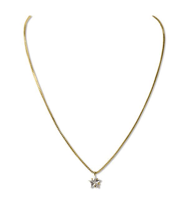 Collar Circón Estrella Enchapado Oro 18 K