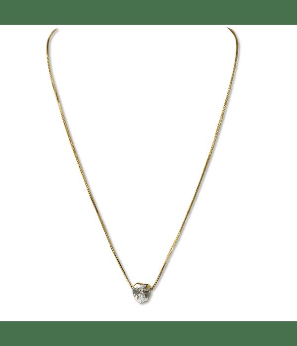 Collar Circón Corazón Enchapado Oro 18 K