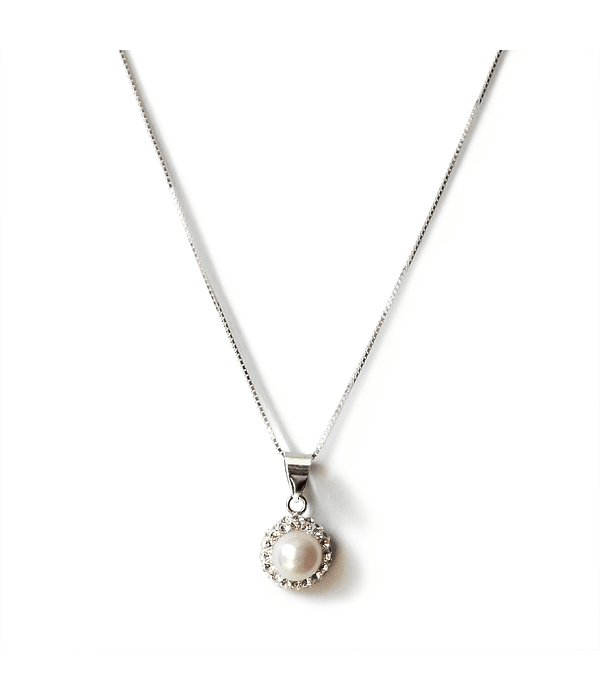 Collar Colgante Perla De Río Circones Plata Fina 925