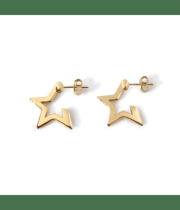 Aros Estrella 4 Puntas Enchapado Oro 18 K