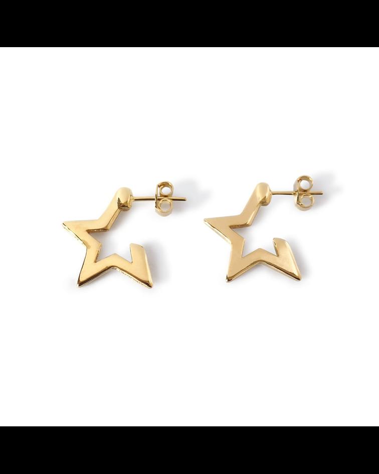 Aros Estrella 4 Puntas Enchapado Oro 18K