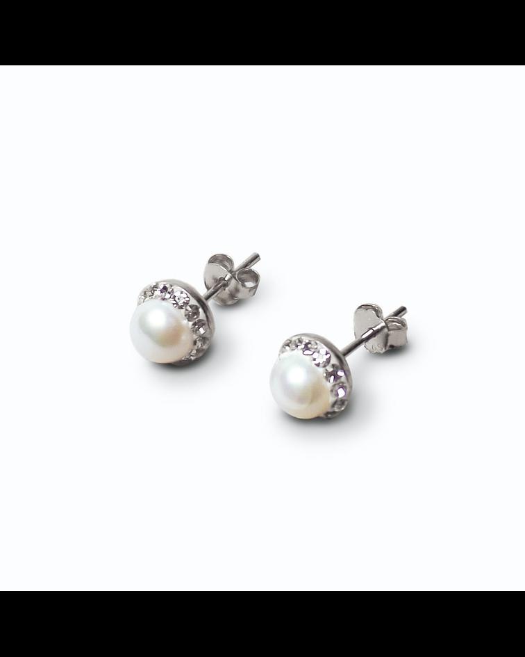 Aros Perla Río Cristales Plata Fina 925