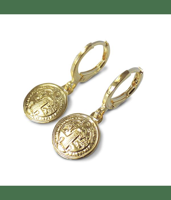 Aros Argolla Medalla San Benito Enchapado Oro 18K