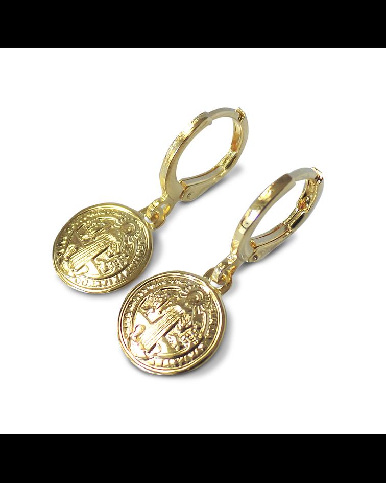 Aros Argolla Medalla San Benito Enchapado Oro 18 K