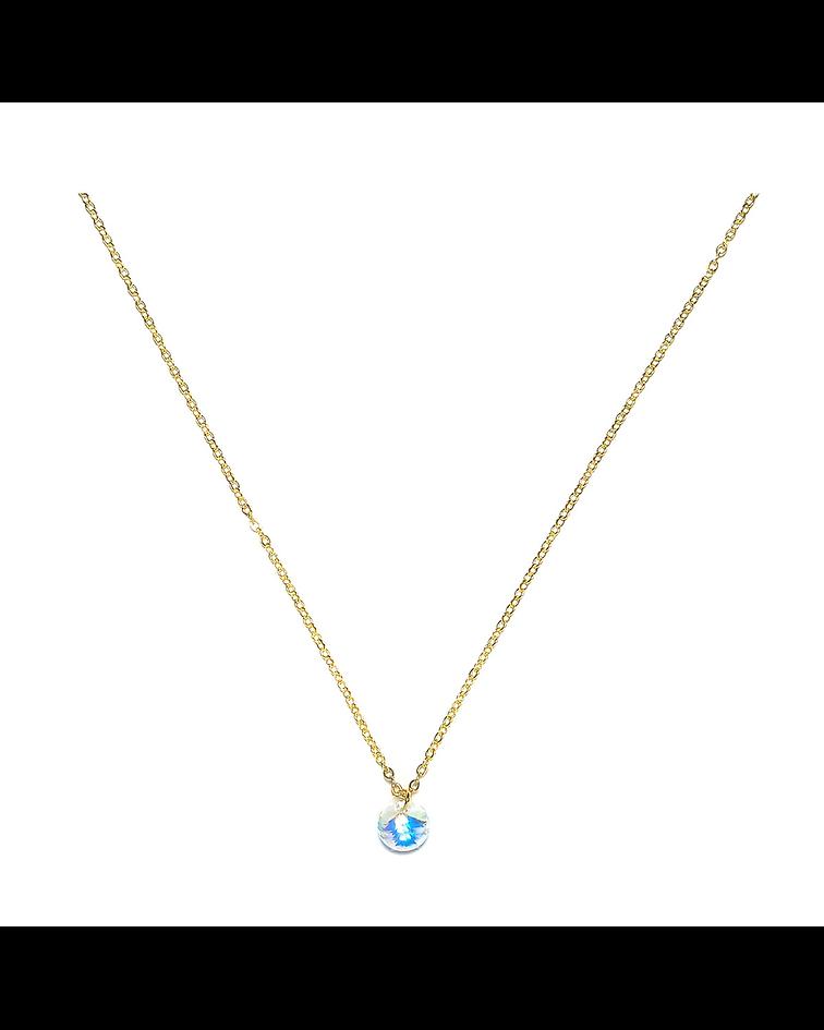 Collar Cristal Tornasol Enchapado Oro 18 K