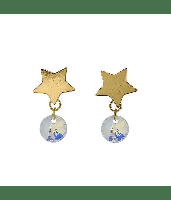 Aros Estrella Cristal Tornasol Enchapado Oro 18 K