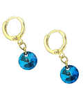 Aros Argolla Cristal Azul Colgante Enchapado Oro 18 K