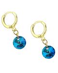 Aros Argolla Cristal Austriaco Azul Bermuda Colgante Enchapado Oro 18 K
