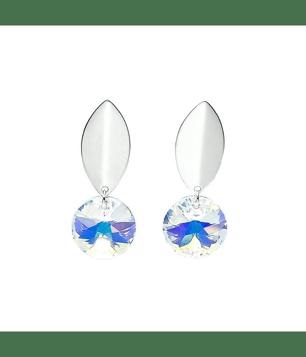 Aros Colgante Cristal Tornasol Plata Fina 925