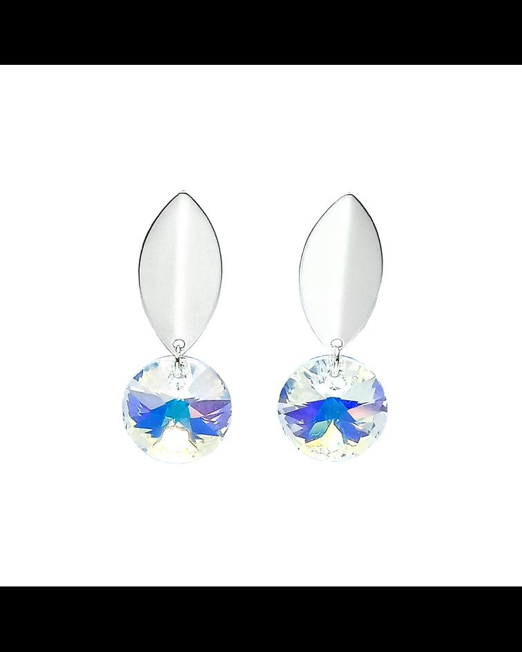Aros Colgante Cristal Austriaco Aurore Boreale Enchapado Plata 925