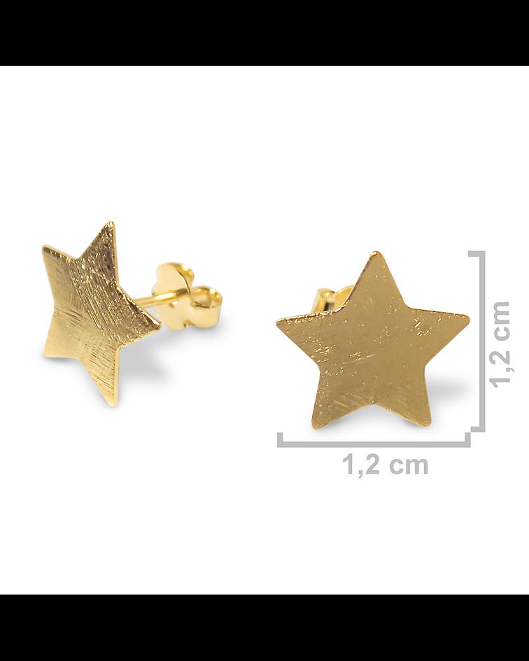 Aros estrella satinados Enchapado Oro 18 K