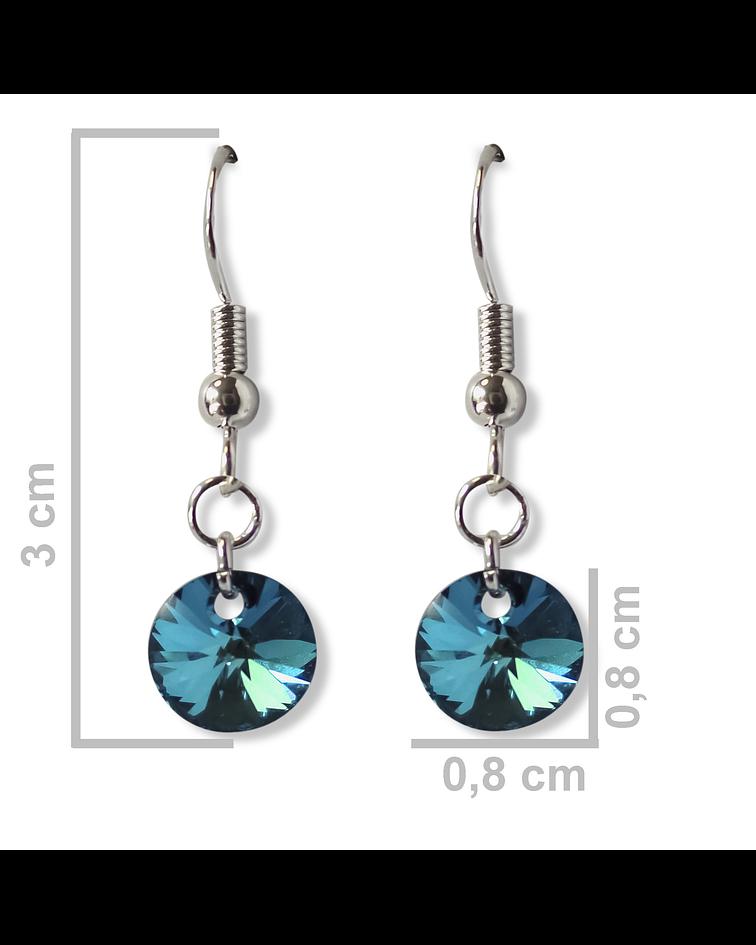 Aros Cristal Austriaco Azul Bermuda Plata Fina 925