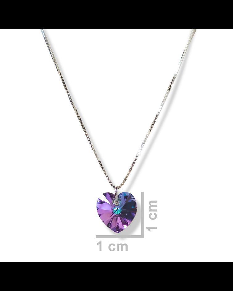 Collar Corazón Cristal austríaco Vitrail Claro Plata Fina 925