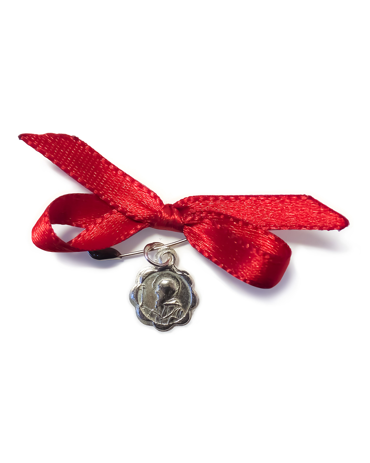 Medalla San Benito Plata Fina 925 Cinta Roja