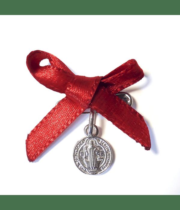 Medalla Colgante San Benito Plata Fina 925 Cinta Roja
