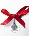 Colgante Medalla San Benito Plata Fina 925 cinta roja