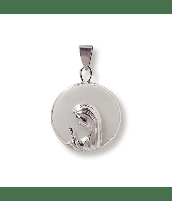 Colgante medalla Virgen Niña nácar Plata Fina 925