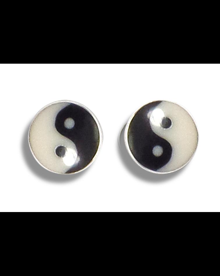 Aros botón yin-yang Plata Fina 925