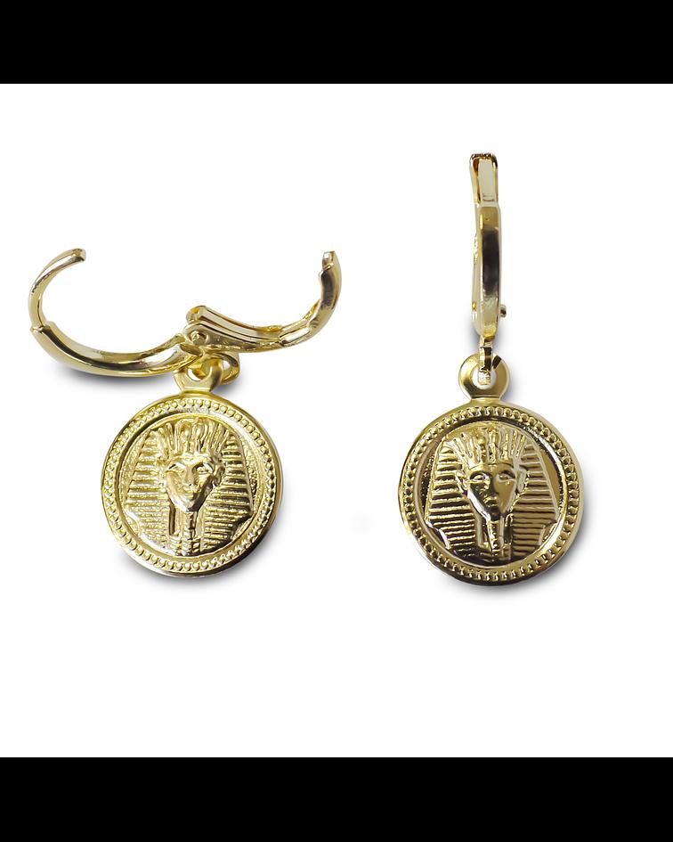 Aros Argolla Medalla Cabeza Egipcia Enchapado Oro 18k