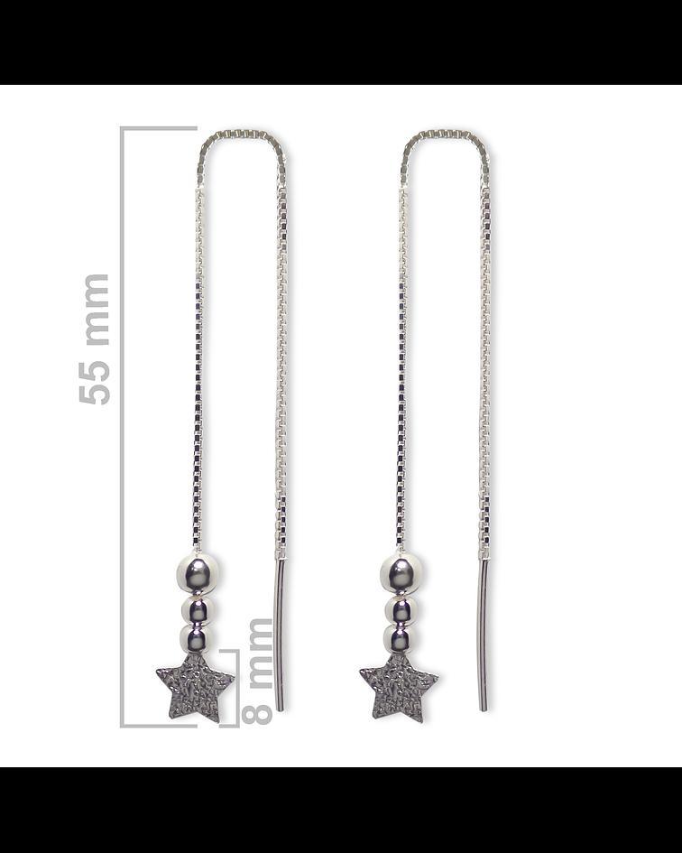 Aros Colgante Cadena Veneciana Estrella Satinada Bolitas Plata Fina 925