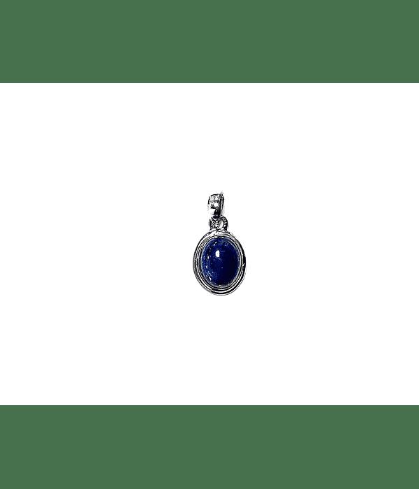 Colgante Lapislázuli Oval Borde Liso Plata Fina 925