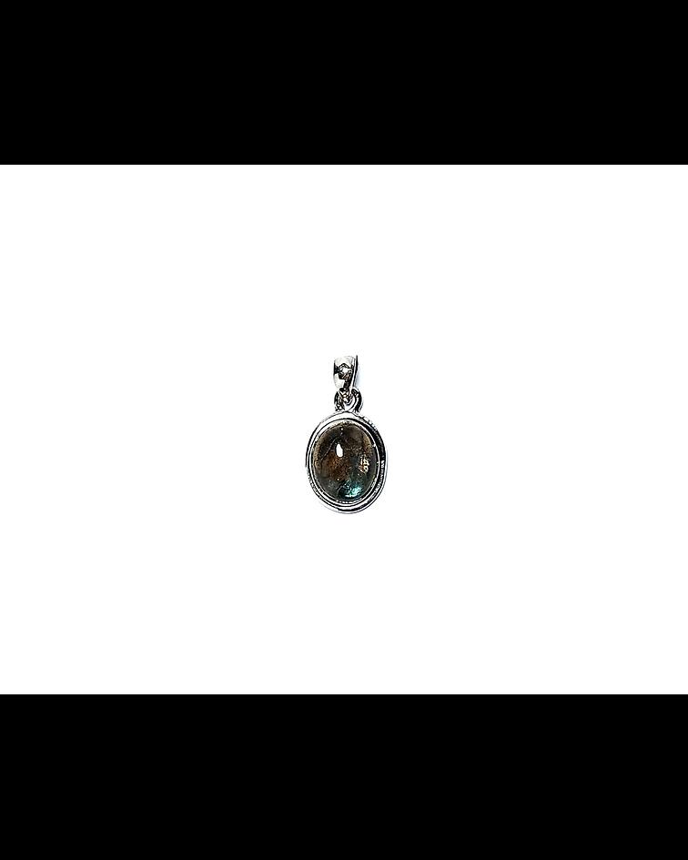 Colgante Labradorita Oval Borde Liso Plata Fina 925