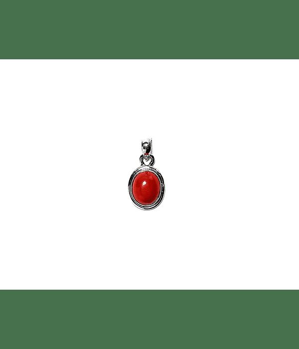 Colgante Coral Oval Borde Liso Plata Fina 925