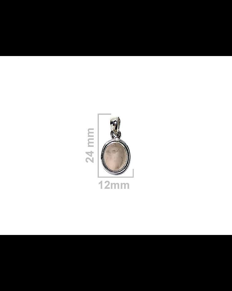 Colgante Cuarzo Rosa Oval Borde Liso Plata Fina 925
