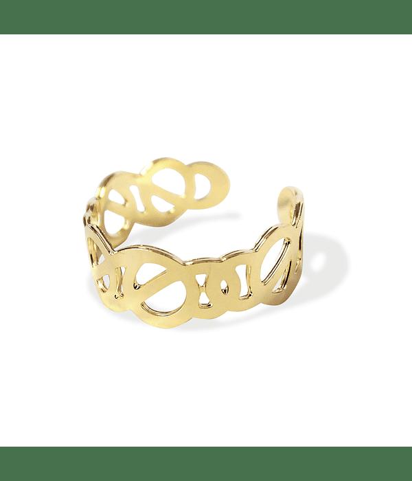 Anillo círculos Enchapado Oro 18 K